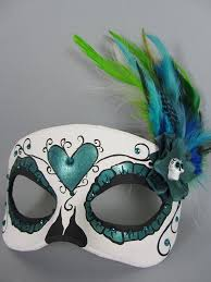 custom masquerade masks custom teal day of the dead heart masquerade mask by maskedzone on