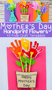 adorable mother u0027s day handprint flower craft and free template