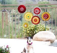 Patriotic Garden Decor Vintage Red Glass Flower Suncatcher Repurposed I Love These
