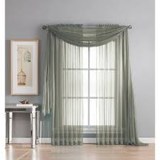 Scarf Curtains Gray And Silver Window Scarf Curtains Drapes You Ll Wayfair
