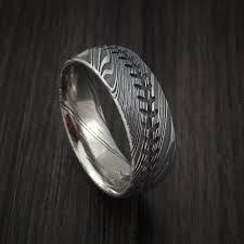baseball wedding ring kuro damascus steel baseball stitch ring with tumble finish
