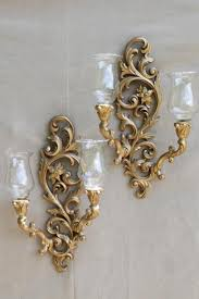 Gold Wall Sconces Vintage Burwood Gold Wall Sconces W Princess House Glass Candle
