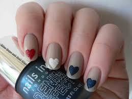 blue tape and nail tips hearts for the 4th