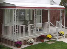 wonderful picture of front porch decoration using white iron metal