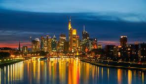 city lights at town center blue hour bridge buildings business city city lights cityscape