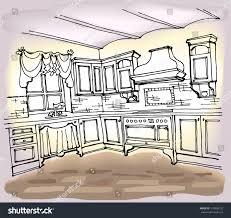 vector sketch kitchen indoor style provence stock vector 510488125