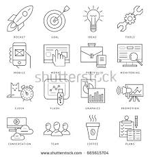 digital vector black startup business icons stock vector 665615704