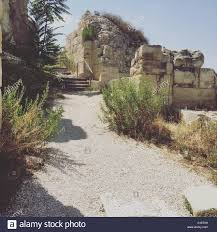 the climb up to the sound cave in tzfat stock photo royalty free