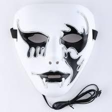 creepy mask white el wire creepy mask rosegal