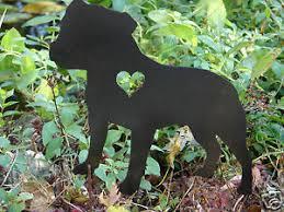 staffordshire bull terrier garden stake pet memorial metal lawn