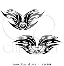 clipart of black and white skull and piston tribal flaming