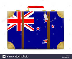 Nee Zealand Flag New Zealand Flag Travel Suitcase On A White Background Stock Photo