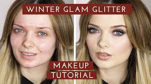 winter glam glitter makeup tutorial new years makeup