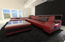 Corner Sofas On Ebay Modern Corner Sofa Monza Led L Shaped Red Black Ebay