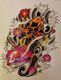 koi fish lotus cherry blossom tattoo by 814ck5t4r on deviantart