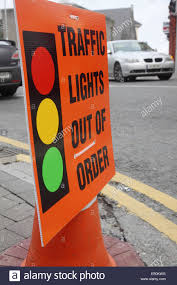 traffic lights out of order sign at a junction athlone