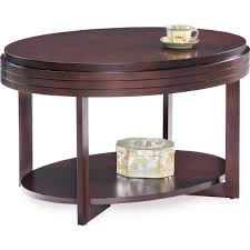 leick furniture 10109 ch oval small coffee table in chocolate