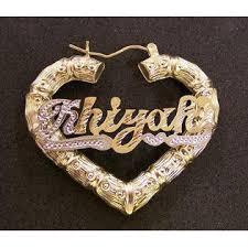Personalized Name Earrings Nikfine Personalized 14k Gp Hoop Heart 2 Inch Any Name Earrings G2