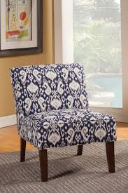 Grey And White Accent Chairs Furniture Blue Striped Armless Chair With Carved Wooden Frame And
