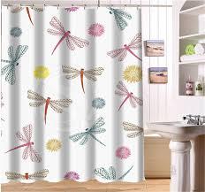 Dragonfly Shower Curtains Wjy425y24 Custom Flying Dragonflies Fabric Modern Shower Curtain