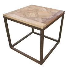 gramercy modern rustic reclaimed parquet wood iron side table