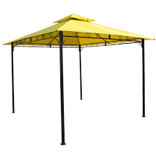 10 ft x 10 ft yellow canopy with sturdy powder coated outdoor iron