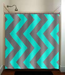 aqua blue gray vertical chevron turquoise shower curtain