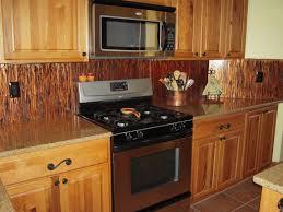 copper tile backsplash for kitchen copper tile backsplash floating wooden shelves marble countertop