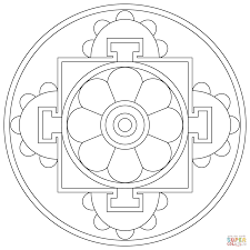 simple tibetan mandala coloring page free printable coloring pages