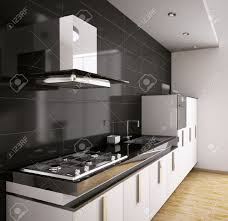 Gas Countertop Range Kitchen Cooktops Modern Kitchen With Sink Gas Cooktop And Hood Interior 3d Stock