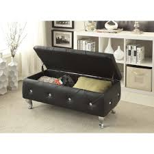 glam leather upholstered tufted storage bench free shipping