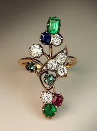flower emerald rings images Antique emerald diamond sapphire ruby alexandrite ring antique jpg