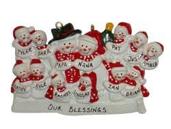 personalized snowman family ornament of 13 grandparents