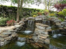 Backyard Waterfall Ideas by Lawn U0026 Garden Simple Outdoor Waterfall Design Ideas In Backyard
