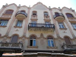 file art nouveau residential house with beautiful wrought iron