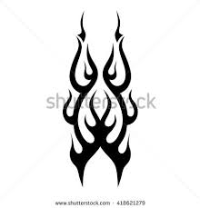 black tribal flames tattoo another design stock vector 418621279