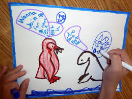 penguin writing paper kid sketches penguin and seal sketching activity for summer art camp some students chose the option of exercising their writing skills turning the sketching page into a comic book panel with some dialog between the penguin