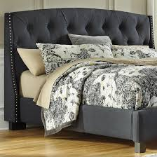 Upholstered Nailhead Headboard by Queen Upholstered Headboard In Dark Gray With Tufting And Nailhead