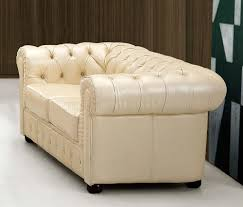 Modern Formal Living Room Furniture Beige Genuine Tufted Leather Formal Living Room Sofa