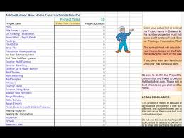 Home Building Cost Estimate Spreadsheet by Home Construction Cost Estimator Tool