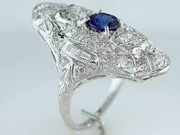 vintage antique 2 12ct sapphire diamond platinum art deco filigree