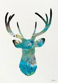 geometric deer google search my next tattoo inspiration blue deer watercolor print archival print deer painting deer art print wall decor art home decor housewares by elfshoppe on etsy