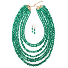 multi layered beaded necklace images 2018 multi layered beads necklace earring jewelry set in green jpg