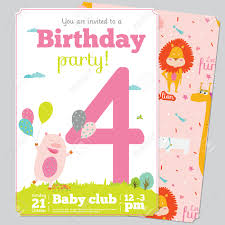 Party Invitation Card Template Birthday Anniversary Numbers With Cute Animals And Kids And