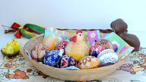 Easter Egg Basket Decorations by Easter Decoration Put Basket Of Painted Eggs On The Table With