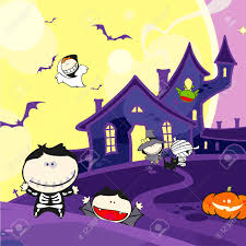 kawaii halloween background collection of halloween related objects and creatures royalty free