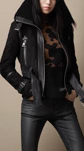 women s clothing burberry shearling jacket leather jackets