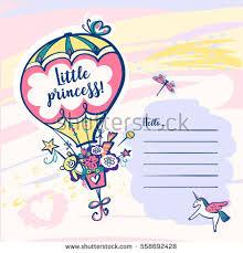 little princess template invitation baby shower stock vector