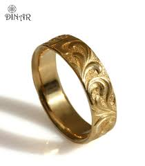 solid gold band scrolls wedding ring textured vintage wide wedding band 14k