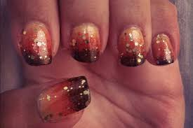 thanksgiving glitter images gradient ombre nails from orange to brown unghie gradiente